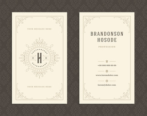 Luxury business card and vintage ornament logo vector template.