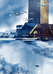 Drones flying over abstract futuristic landscape with skyscrapers