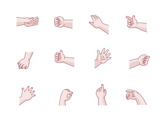 Baby Hand Set of hands baby in different gestures emotions palm,hand back, side view. vector illustration isolated on a white background. Simple hand-drawn style.
