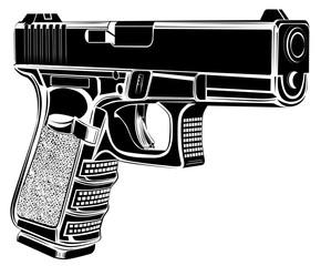 Pistol Glock gun vector illustration. 9 caliber. Pistol emblem logo.