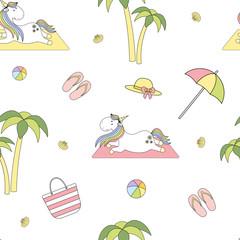 Magic cute unicorn on the beach Seamless Vector Pattern. Vector background