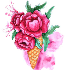 Watercolor hand painted pink peony flowers in ice cream.