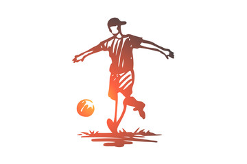 Boy, sport, soccer, ball, child concept. Hand drawn isolated vector.