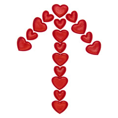 cupid's arrow, assembled from decorative red hearts. Isolated on white background. Love symbol