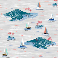 Beautiful seamless island pattern. Summer trends bright seamless colorful island pattern on white background. Landscape with palm trees, beach, sailing ship and ocean brush hand drawn style.