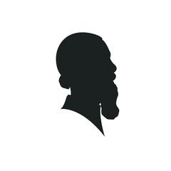man profil silhouette. Vector illustration. man icon in round