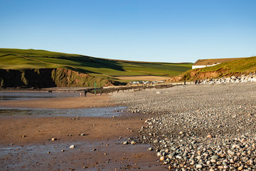 St Bees Head on a beautiful autumn  day with clear blue sky  -St Bees, Whitehaven, Cumbria