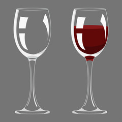 Transparency empty and full wine glass design