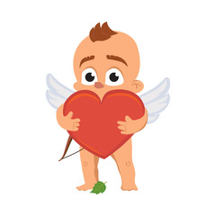 Cupid angel love character vector illustration for Valentine day or wedding dating surprised naked Amur Eros greek mythology god or cherub baby with red heart emoji isolated on white background