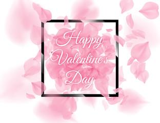 Happy Valentines Day black square frame with pink sacura petals falling on white background. Vector rose flower 3D romantic illustration. Spring tender light backdrop. Tenderness romance design.