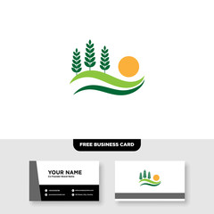 vector logo design for agriculture, agronomy, rural country farming field, natural harvest, FREE BUSINESS CARD