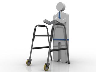 3D illustration Walker standing patient