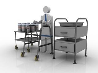 3D illustration Walker with patient near medicine bottle in medical stand