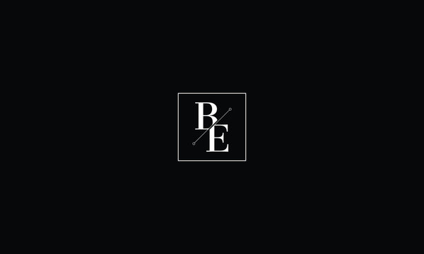 LETTER B AND E LOGO WITH SQUARE FRAME FOR LOGO DESIGN OR ILLUSTRATION USE