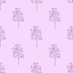 Floral pattern in watercolor style. Beautiful seamless pattern with flowers with pink and blue, herbs and leaves. Can be used as a background template for Wallpaper, printing on fabrics, packaging.