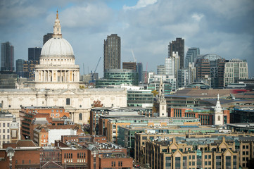 Sunny scenic view of the city skyline of Central London dominated by the Baroque dome of St Paul's Cathedral