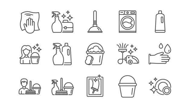 Cleaning line icons. Laundry, Window sponge and Vacuum cleaner. Washing machine linear icon set.  Vector