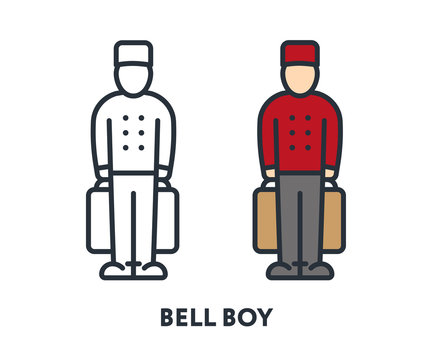 Bell Boy Character in Red Uniform Cap Holding Baggage Hotel Room Service. Vector Flat Line Stroke Icon.