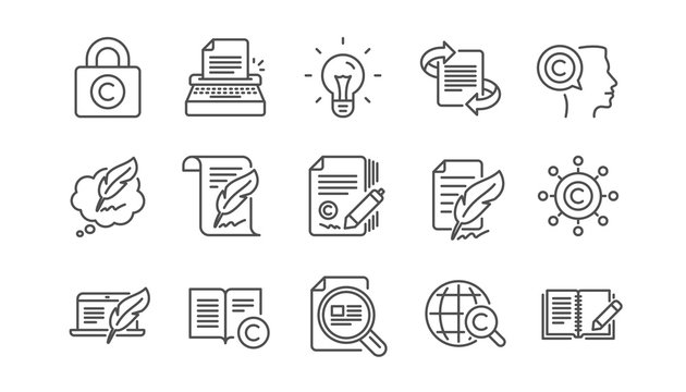 Copywriting line icons. Copyright, Typewriter and Feedback. Legal content linear icon set.  Vector