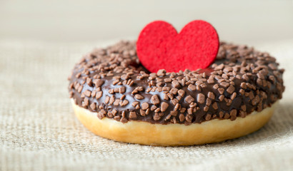 Sweet gift for Valentines day, donut cake with heart and love, web banner idea
