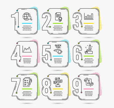 Infographic timeline set of Quiz test, Innovation and Diagram icons. Tutorials, Survey checklist and Certificate signs. Vector