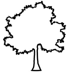 Tree profile silhouette isolated - black outlined detailed - vector