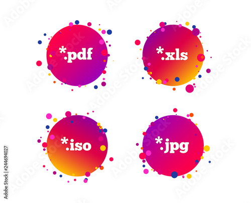 Document icons  File extensions symbols  PDF, XLS, JPG and