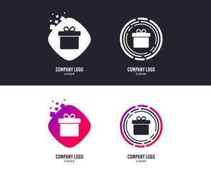 Logotype concept. Gift box sign icon. Present symbol. Logo design. Colorful buttons with icons. Vector