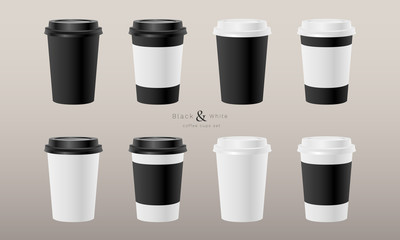 Coffee cups paper disposable black and white realistic 3d mockup template set vector EPS 10