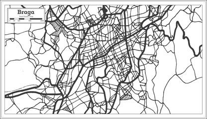 Braga Portugal City Map in Retro Style. Outline Map.