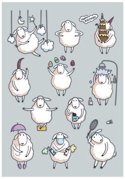 Funny cute sheep. set