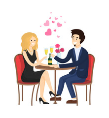Dating Couple in Evening Gowns Sitting at Table