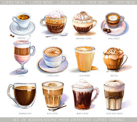 Set with diferent coffee drinks for cafe or coffeehouse menu. Illustration of strong espresso, gentle latte, sweet macchiato and cappuccino, Viennese coffee and glace with ice cream.