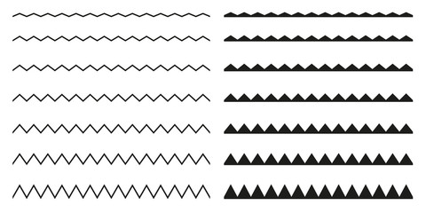 Set of seamless borders zigzag. Graphic design elements.