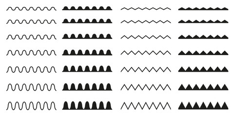 Set of seamless wavy, zigzag. Graphic design elements.