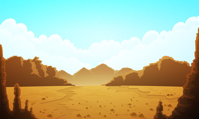Landscape of vast desertic plain of rocks and sand. Blue sky with clouds and mountains at horizon. Vector illustration. Wall mural