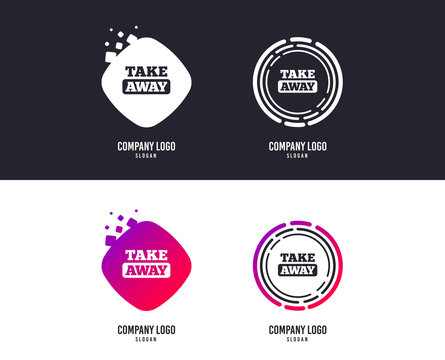 Logotype concept. Take away sign icon. Takeaway food or coffee drink symbol. Logo design. Colorful buttons with icons. Vector