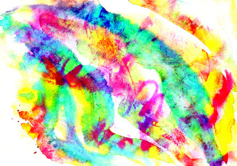 Abstract artistic hand painted watercolor, all rainbow colors, pink, yellow, turquoise palette