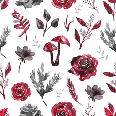 Seamless pattern with watercolor flowers, plants on white isolated background. Gothic background