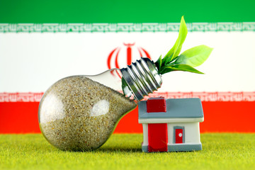 Plant growing inside the light bulb, miniature house on the grass and Iran Flag. Renewable energy. Electricity prices, energy saving in the household.