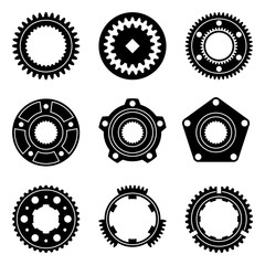 Machine parts. Gear, flange and synchro ring. Vector illustration
