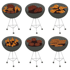 Collection of BBQ objects. set of barbecue elements, steak, chops, chicken legs and wings, sausages . Hand drawn. Fast food. Can be used for cafe and restaurant menus, packaging, advertisements.