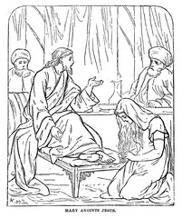Woman wipes his hair the feet of Christ