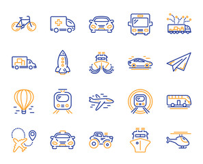 Transport line icons. Taxi, Helicopter and subway train icons. Truck car, Tram and Air balloon transport. Bike, Airport airplane and Ship, subway. Travel bus, ambulance car, paper airplane. Vector
