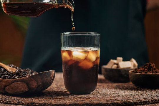 Pouring Cold Brew Iced Coffee