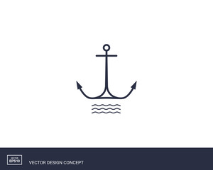 Anchor emblem with waves. Yacht style design.