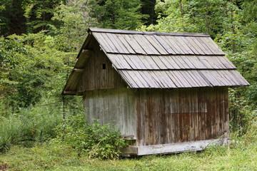 Wooden hut in the mountains at Lake Bohinj, Slovenia
