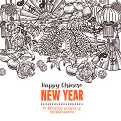 Vector greeting poster for happy Chinese new lunar year. Decorative background in sketch style with hand drawn dragon, mandarins, paper oriental lantern, gold ingot, fortune coin, lucky knot, red enve