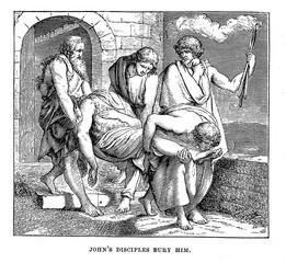 Johns disciples bury him