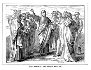 Jesus sends out the twelve apostles.